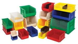 Plastic industrial storage containers