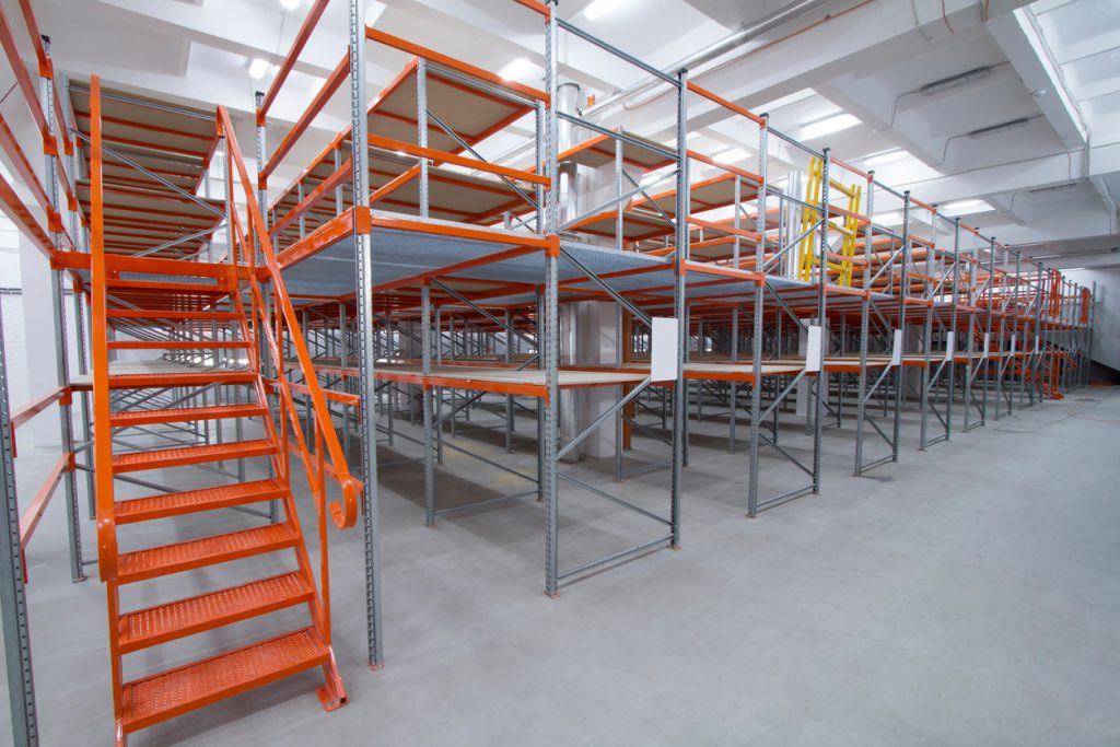 An industrial mezzanine in a warehouse