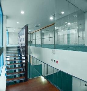 new office construction with mezzanine floor